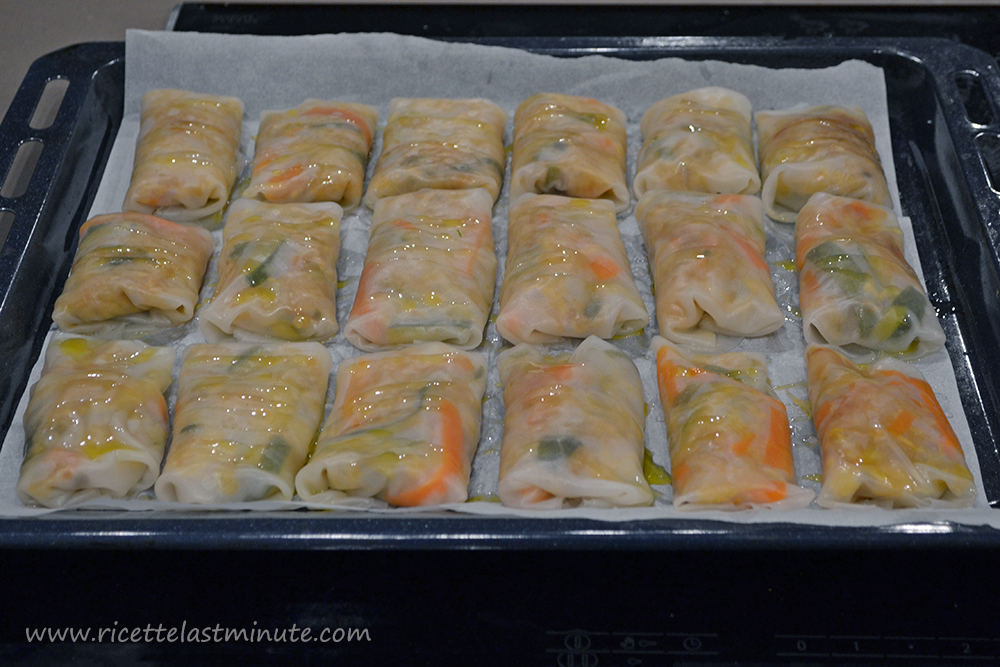 Spring rolls ready for cooking
