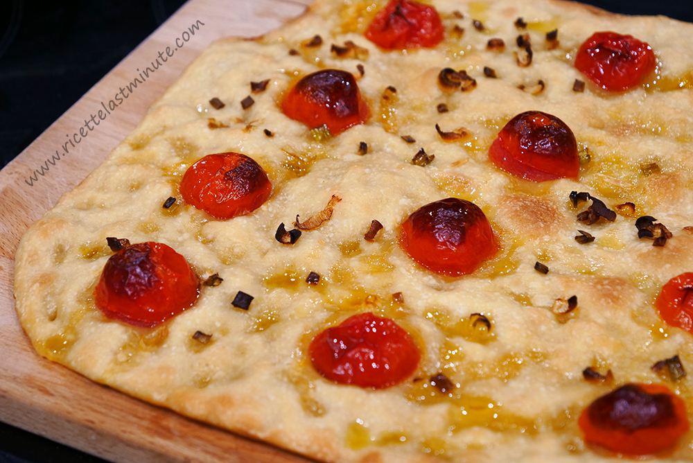 Genoese focaccia with cherry tomatoes and onion recipe