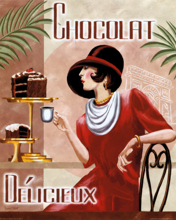 French Poster Drinking Coffee